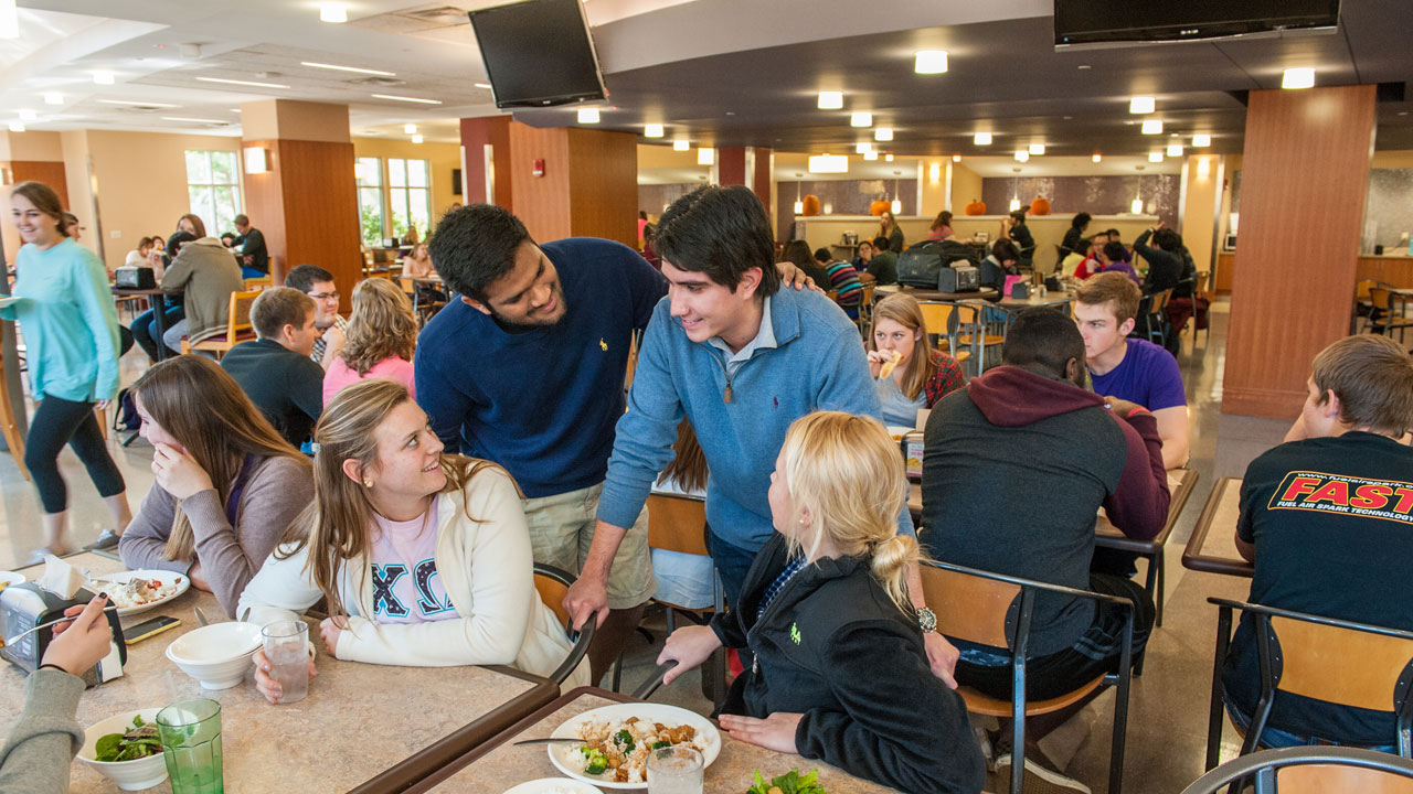 Students eating lunch in Ridgway University Center's cafeteria