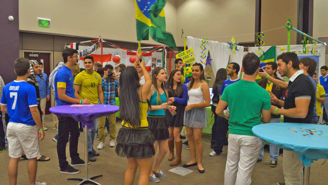 UE students gathered at the International Bizzare.