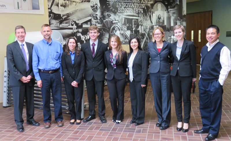 UE Students and faculty posing for camera at the A. O. Smith Corporation