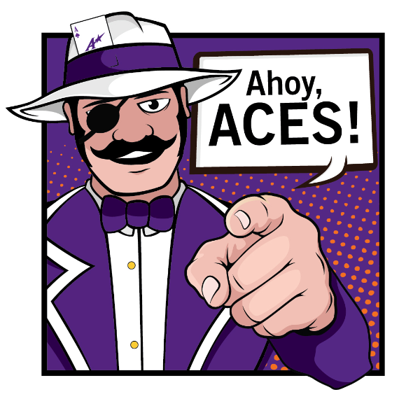 Ace Purple cartoon pointing saying Ahoy, Aces!