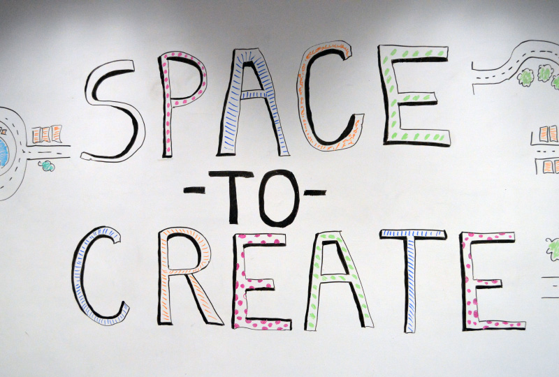 Space to Create  written on a whiteboard