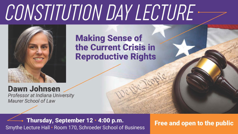 Constitution Day Lecture Banner with Dawn Johnsen's photo