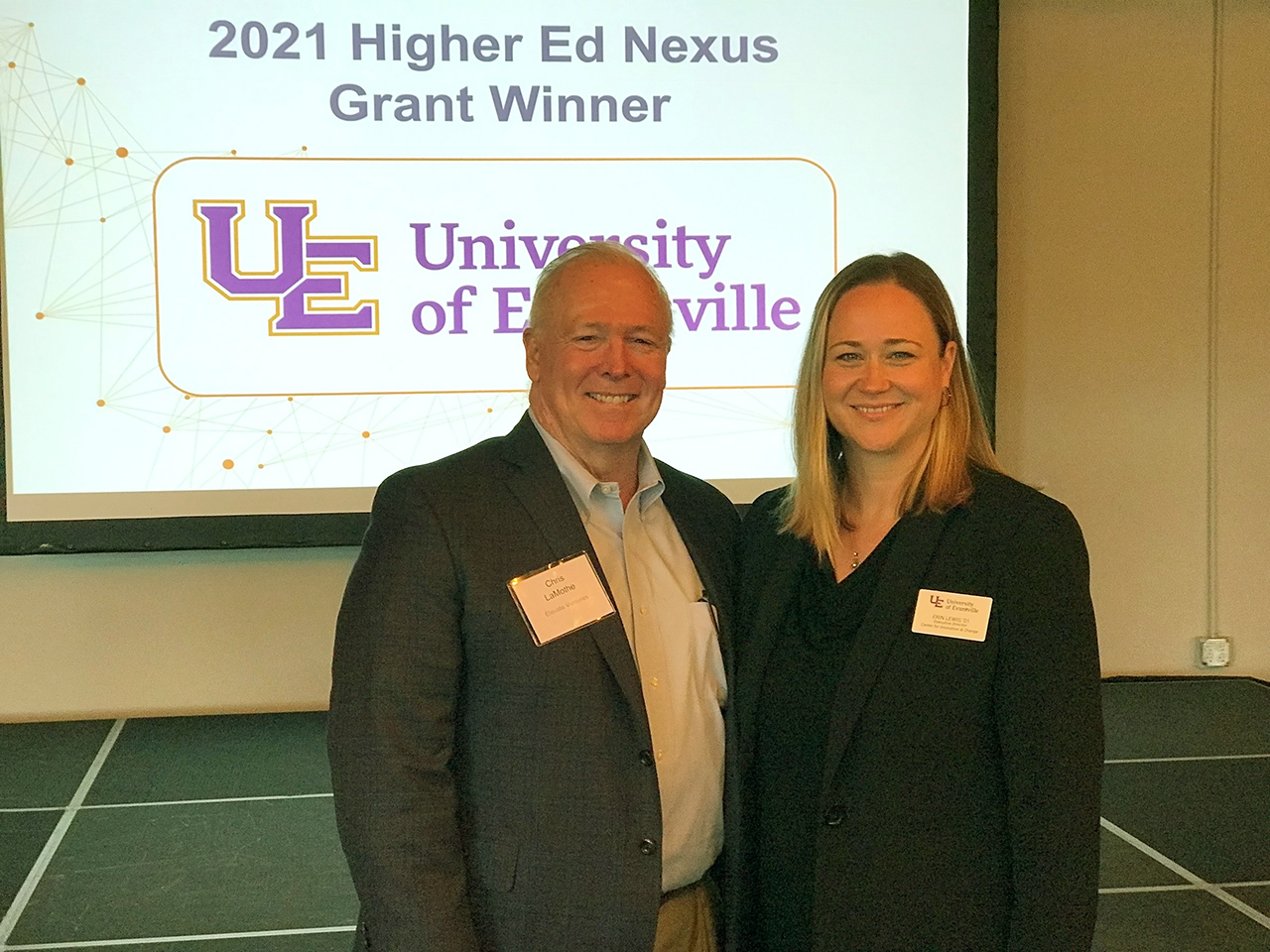 Erin Lewis is pictured with Chris LaMothe, CEO of Elevate Ventures.