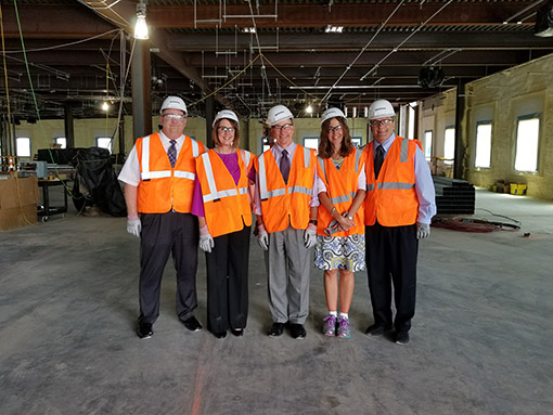UE Officials Tour Med School Construction Site