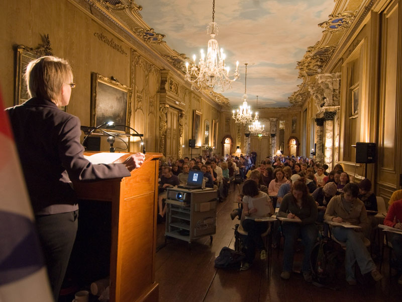 Faculty member giving lecture in Harlaxton College