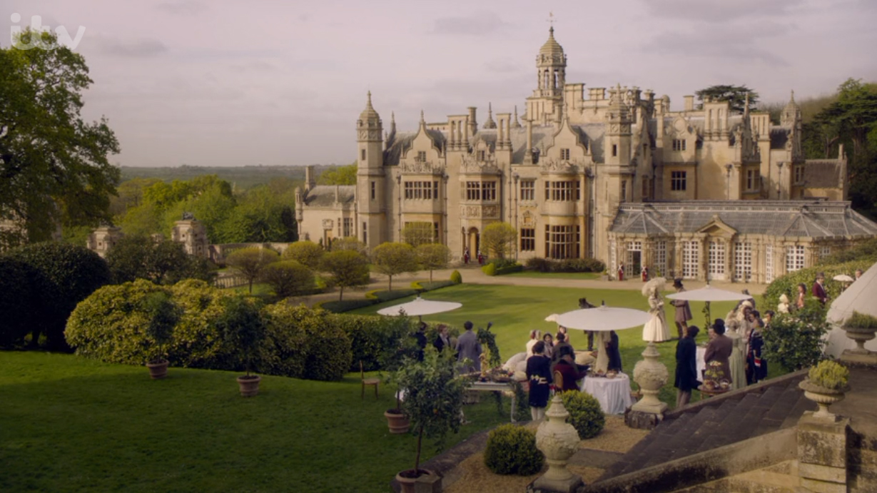 Screenshot from the TV series Masterpiece's Victoria of Harlaxton College's courtyard