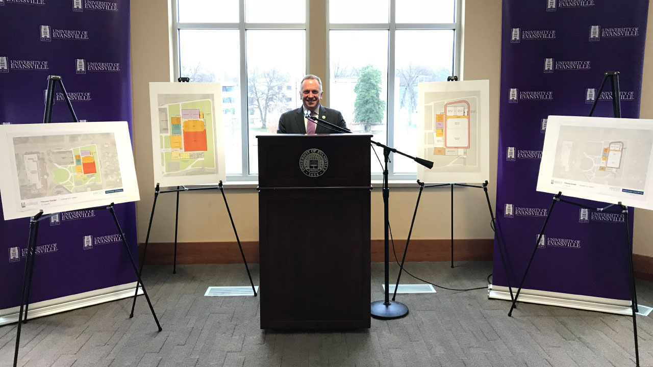 UE president Christopher M. Pietruszkiewicz at podium announcing new Wellness and Recreation Center plans