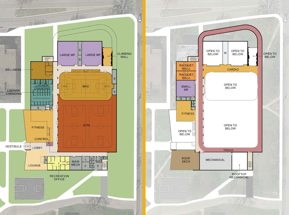 Fitness Center Concept First and Second Floor plans
