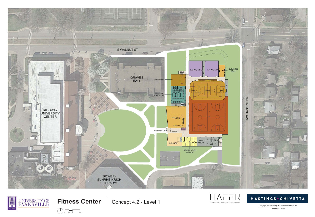 Fitness Center Concept Floorpan in relation to landscape.