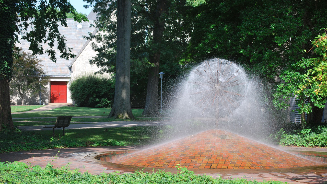 The Weeping Basketbal memorial fountain.