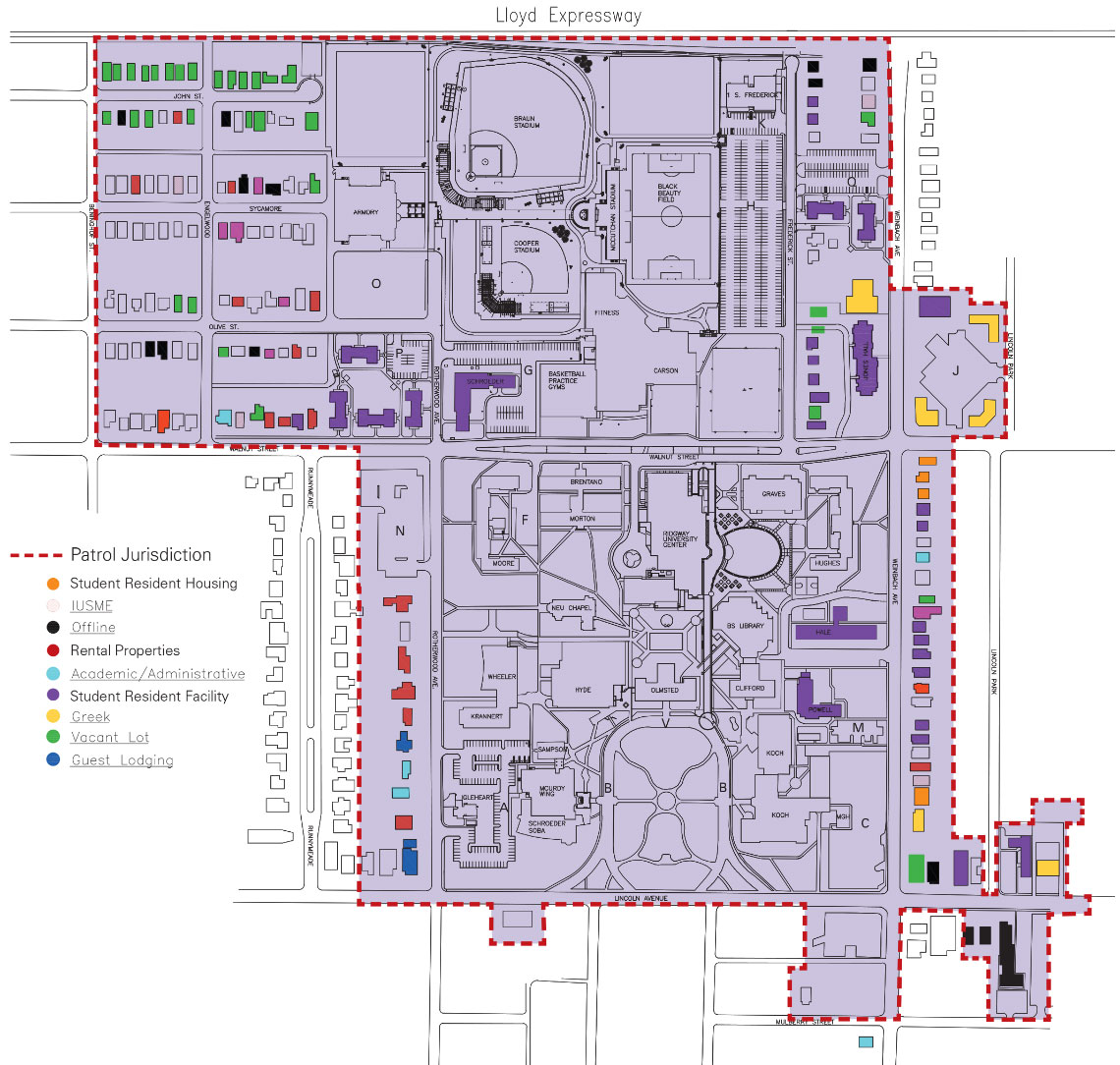 university of evansville campus map Clery Jurisdiction Map Safety And Security University Of university of evansville campus map