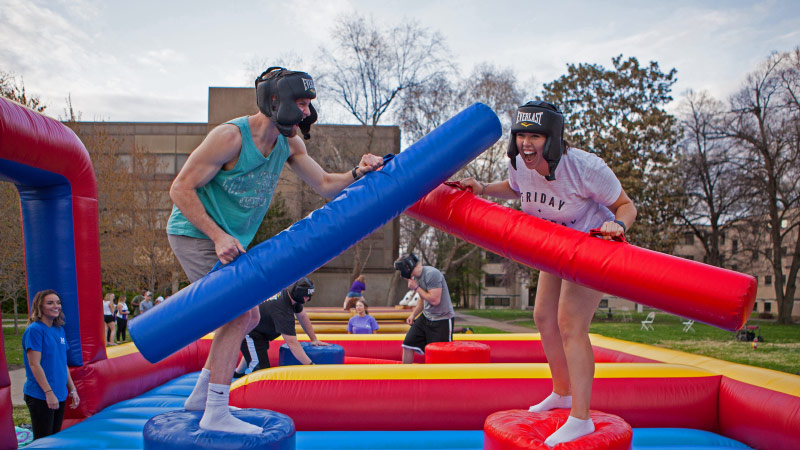 Students jousting at Purple Palooza